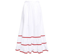 Gathered Cotton Midi Skirt White
