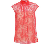 Woman Gathered Chantilly Lace Top Red