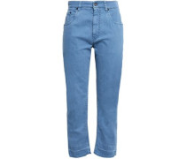 Cropped High-rise Straight-leg Jeans Mid Denim