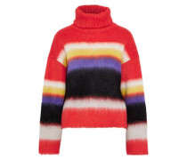 Striped Brushed Knitted Turtleneck Sweater Coral