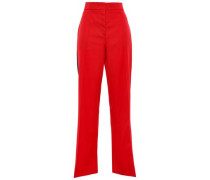 Striped Wool-twill Flared Pants Red