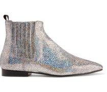 Glittered Leather Chelsea Boots Silver