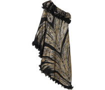 One-shoulder Ruffled Fil Coupé Georgette Midi Dress Black