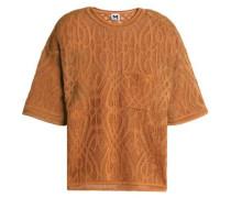 Crocheted cotton-blend top