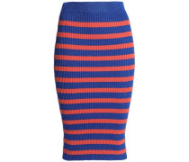 Metallic Striped Ribbed-knit Midi Skirt Bright Blue