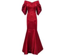 Off-the-shoulder Flared Duchesse-satin Gown Burgundy