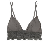 Sonia lace-trimmed stretch cotton-blend jersey soft-cup bra