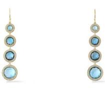 18-karat gold, topaz and diamond earrings