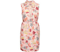 Woman Pussy-bow Floral-print Faille Mini Dress Blush