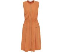Woman Flared Zip-detailed Cotton-blend Twill Dress Camel
