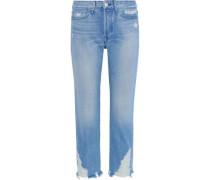 Higher Ground Distressed High-rise Straight-leg Jeans Light Denim  4