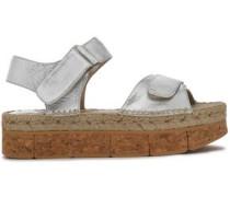 Metallic leather plaform sandals