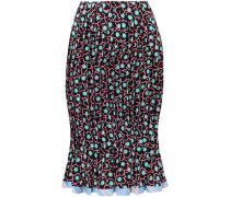 Floral-print Pleated Silk Crepe De Chine Skirt Black