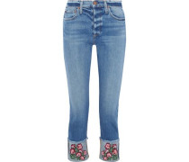Amazing Cropped Embroidered High-rise Slim-leg Jeans Mid Denim  5