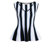 Striped Stretch-knit Peplum Top White