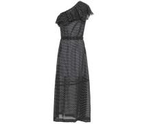 One-shoulder Polka-dot Cotton Maxi Dress Black Size 1