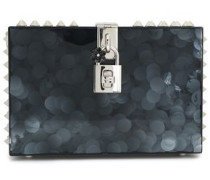 Dolce spiked glittered acrylic box clutch