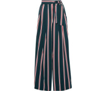Karate Belted Striped Twill Wide-leg Pants Dark Green