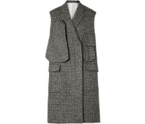 Oversized Houndstooth Wool-blend Vest Gray