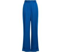 Woman Pleated Crepe Wide-leg Pants Cobalt Blue