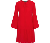Fiona Bow-embellished Silk-georgette Mini Dress Red