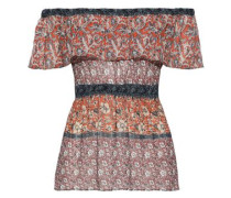 Sri Lanka Off-the-shoulder Layered Printed Woven Top Multicolor