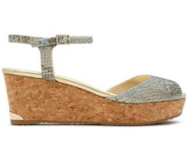 Snake-effect leather and cork wedge sandals
