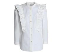 Ruffle-trimmed cotton-blend poplin shirt