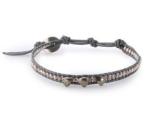 Cord, sterling silver and pyrite bracelet