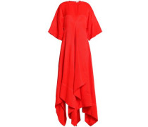 Flared draped canvas midi dress