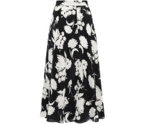 Woman Floral-print Silk Crepe De Chine Midi Skirt Black
