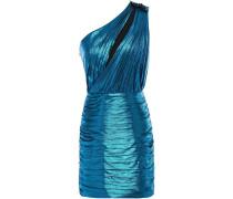 Woman Cassia One-shoulder Cutout Lamé Mini Dress Blue