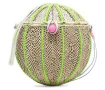 Leather-trimmed woven straw shoulder bag