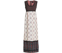 Velvet-trimmed cotton-blend jacquard maxi dress