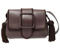 Tasseled Leather Shoulder Bag Taupe Size --