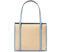 Leather-trimmed Straw Tote Light Blue Size --
