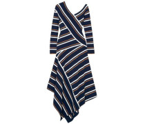 Asymmetric Stretch-knit Midi Dress Navy