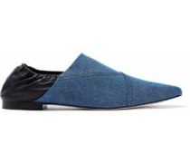 Two-tone leather and denim point-toe flats