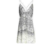 Snake-print fil coupé chiffon mini dress