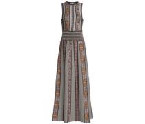 Pleated Metallic Jacquard-knit Maxi Dress Taupe