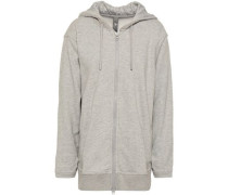 French Cotton-blend Terry Hooded Sweatshirt Light Gray
