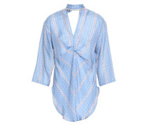 Cutout Twist-front Printed Silk Blouse Azure