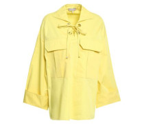 Lace-up Cotton-poplin Blouse Pastel Yellow
