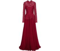 Cotton-blend Corded Lace-paneled Chiffon Peplum Gown Claret