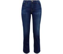 Faded High-rise Straight-leg Jeans Dark Denim  5