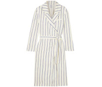 Striped Linen Wrap Dress Ivory