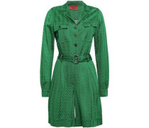 Belted Crochet-knit Playsuit Green