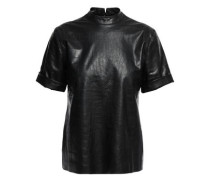Kaden Croc-effect Vegan Leather Top Black