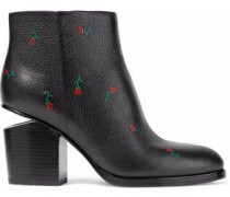 Gabi floral-print textured-leather ankle boots