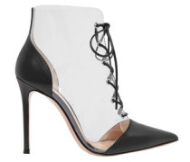 Lace-up Leather-paneled Pvc Ankle Boots Black